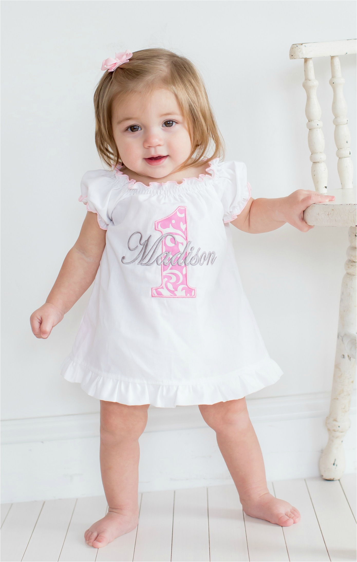 baby girl first birthday dress pink damask 1 p 289