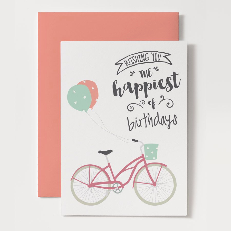 Custom Made Birthday Cards Printable Card Bicycle With Balloons
