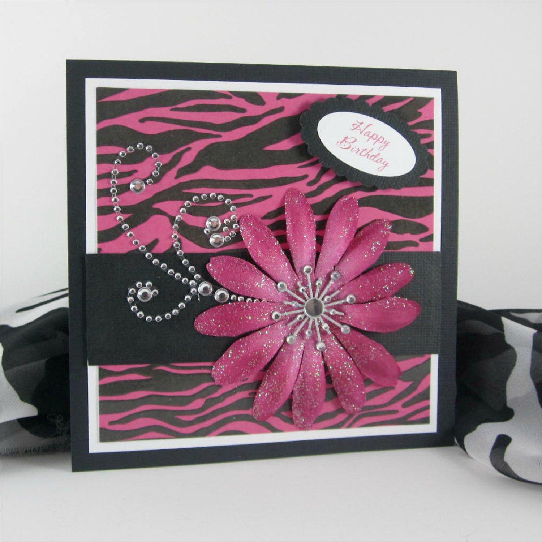 zebra print card handmade birthday card