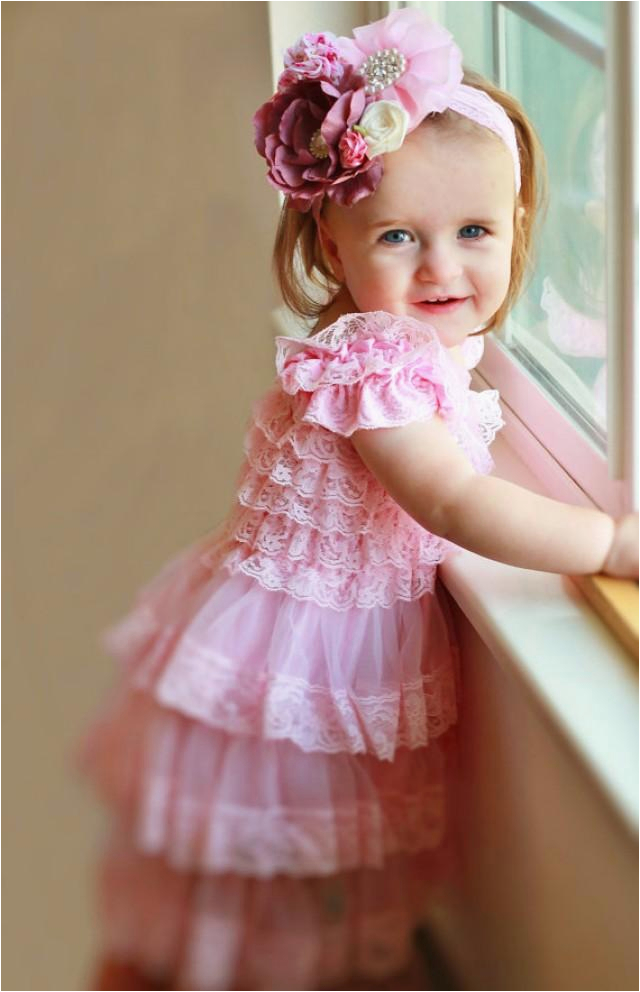 pink lace dress headband settoddler dressbaby dressflower girl dressfirst 1st birthday dressvintage stylegirs photo outfit