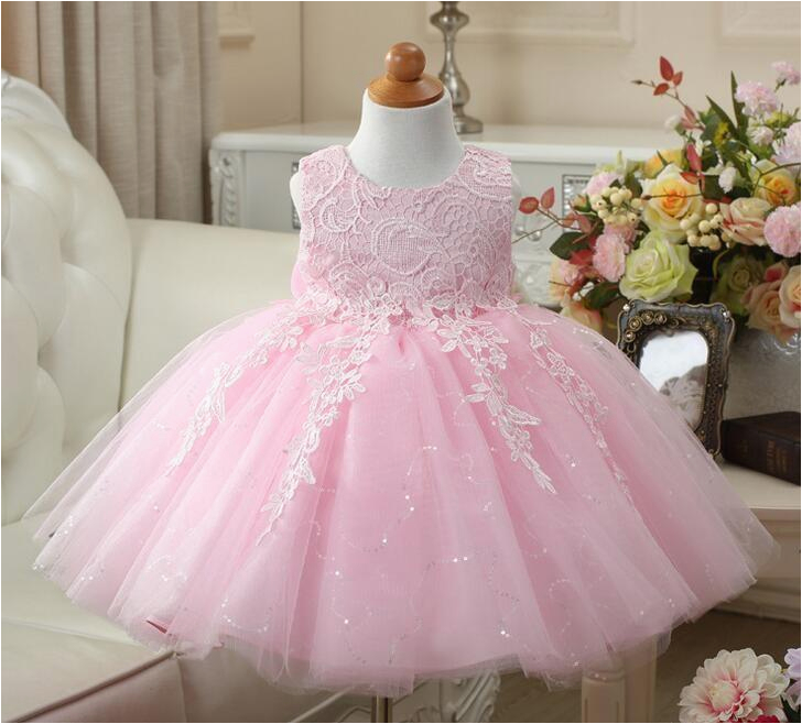 red pink white baby girls 1 year old birthday dress sequin
