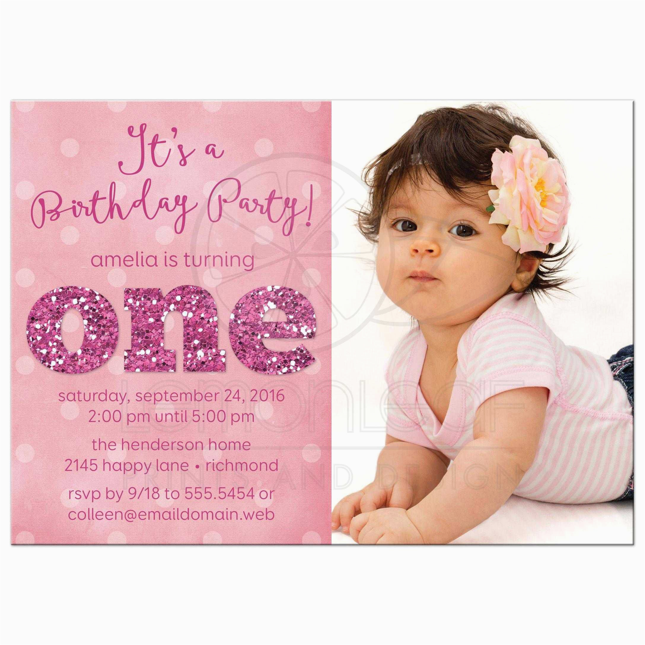 1 Year Old Birthday Invitation Card Sample 1st And Baptism Invitations