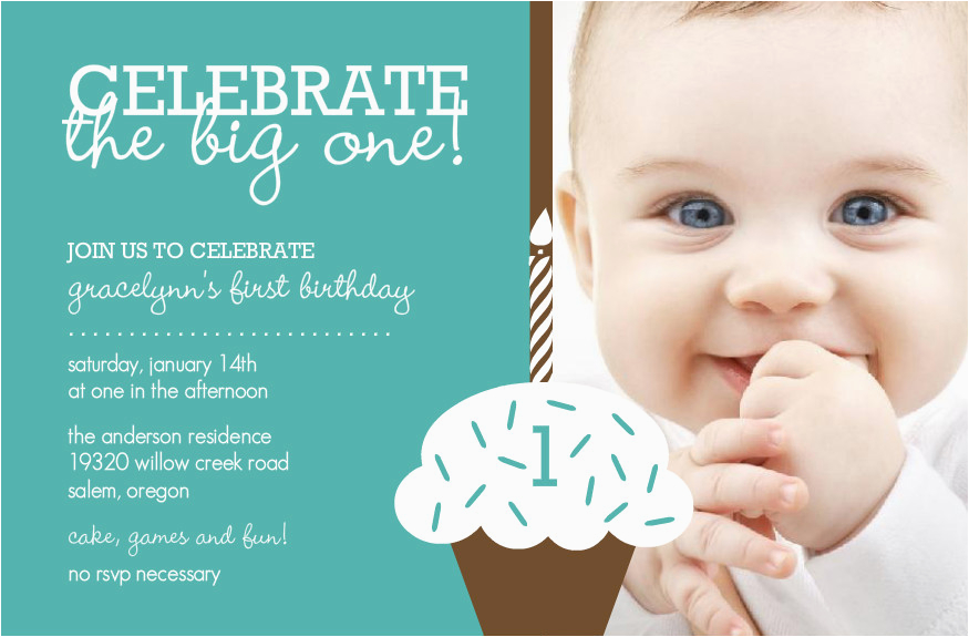 1 Year Old Birthday Invitation Card Sample Baby Boy First