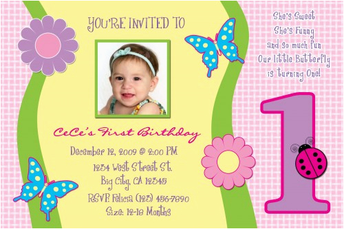 1 Year Old Birthday Invitation Card Sample Free One Invitations Template