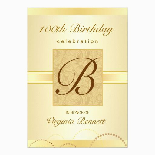 100th birthday party gold damask monogram card custom