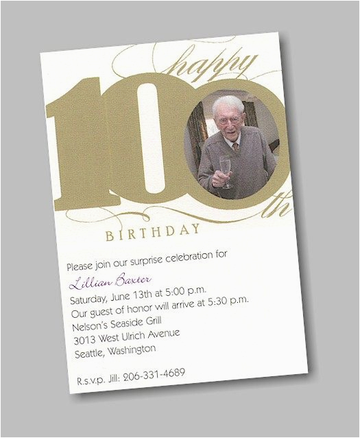 100th birthday party invitations a birthday cake