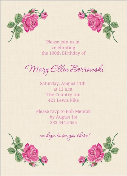cream and floral set 100th birthday invitation 100th