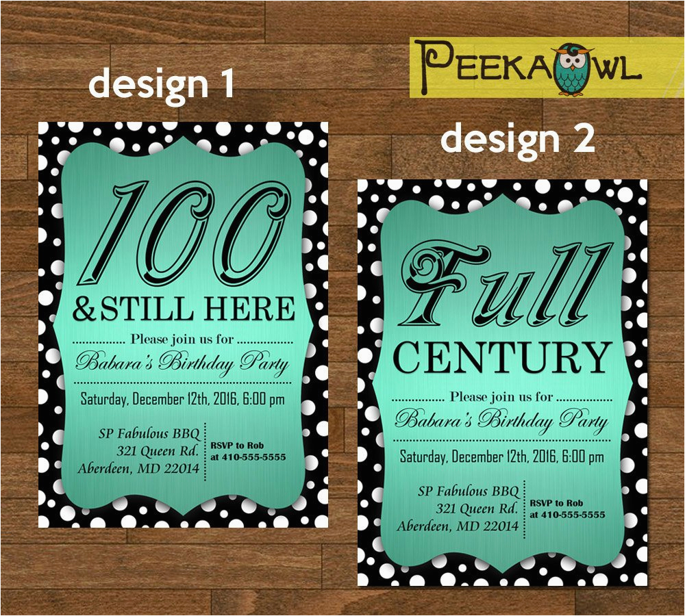 printable diy dots 100th birthday invitation card 100th