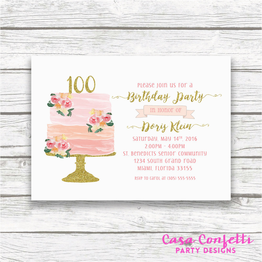 100 Birthday Invitation Wording 100th Cake