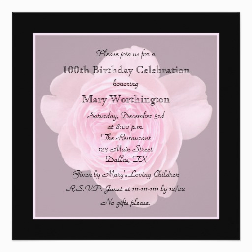 100 Birthday Invitation Wording 100th Party Rose For Zazzle