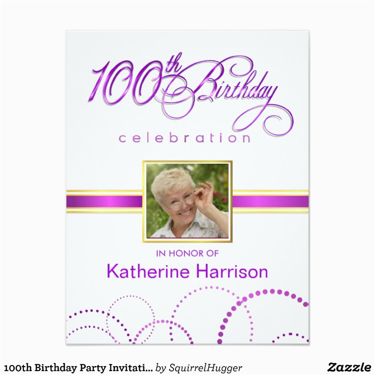 100th Birthday Party Invitations With Monogram Zazzle