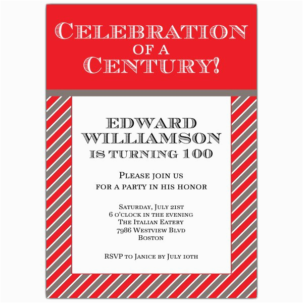 celebration of a century 100th invitations paperstyle
