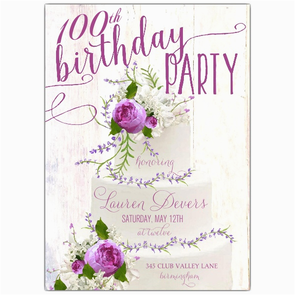 floral bouquet cake 100th birthday invitations paperstyle