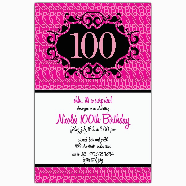 milestone 100th pink floral birthday invitations paperstyle
