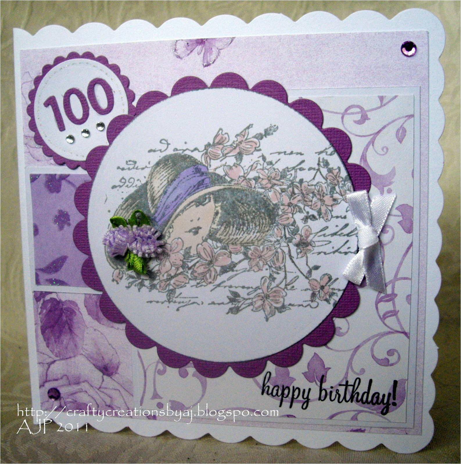 crafty creations by a j 100 years old birthday card