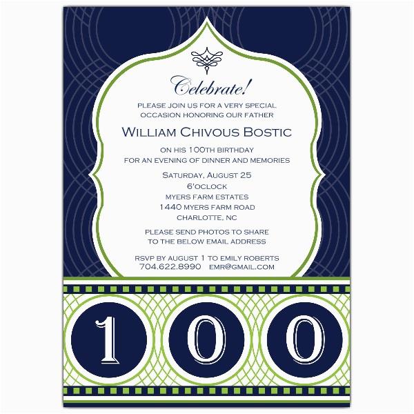 celebrate his century 100th birthday invitations p 641 57 032
