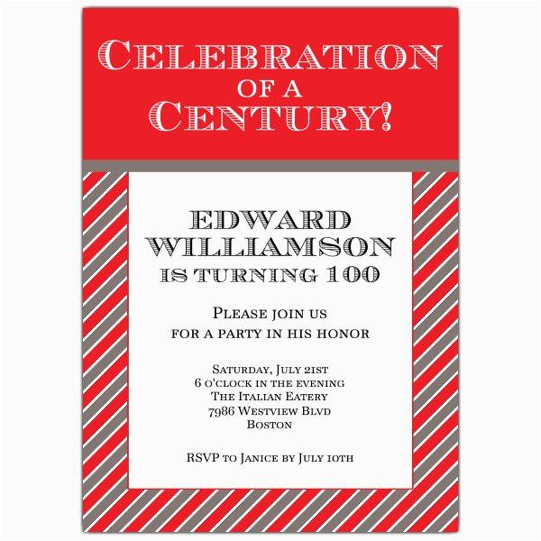 celebration of a century 100th invitations p 628 57 302