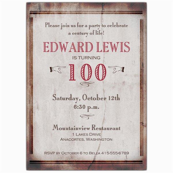 old world 100th birthday invitations p 608 57 171