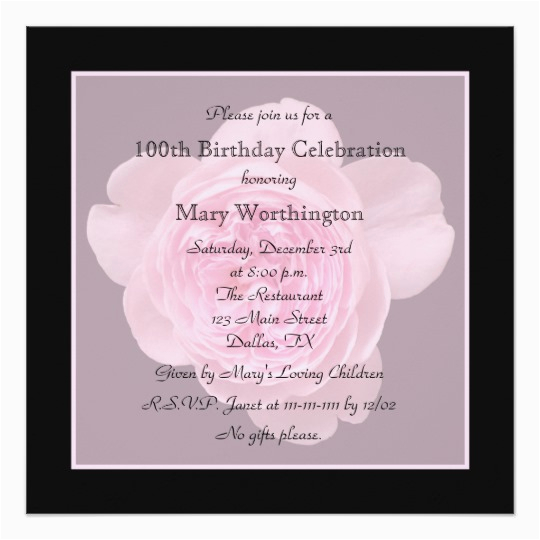 100th Birthday Invitations Ideas Party Invitation Rose For Zazzle