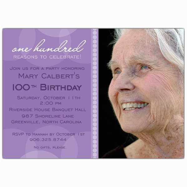 Lavender Circle Photo 100th Birthday Invitations P 634 75 Pur001