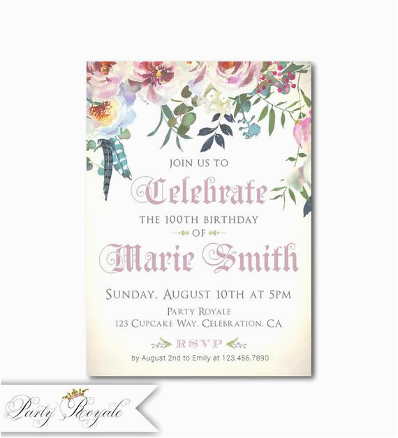 100th Birthday Party Invitation Wording Women 39 S Invitations 100 Years Old Or Any