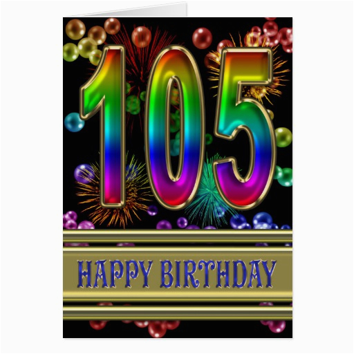 105th birthday with rainbow bubbles and fireworks card 137317373741666172