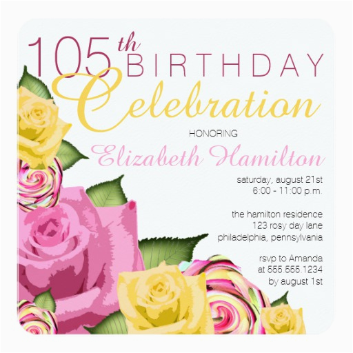 pink yellow floral 105th birthday celebration card 256264936900952003
