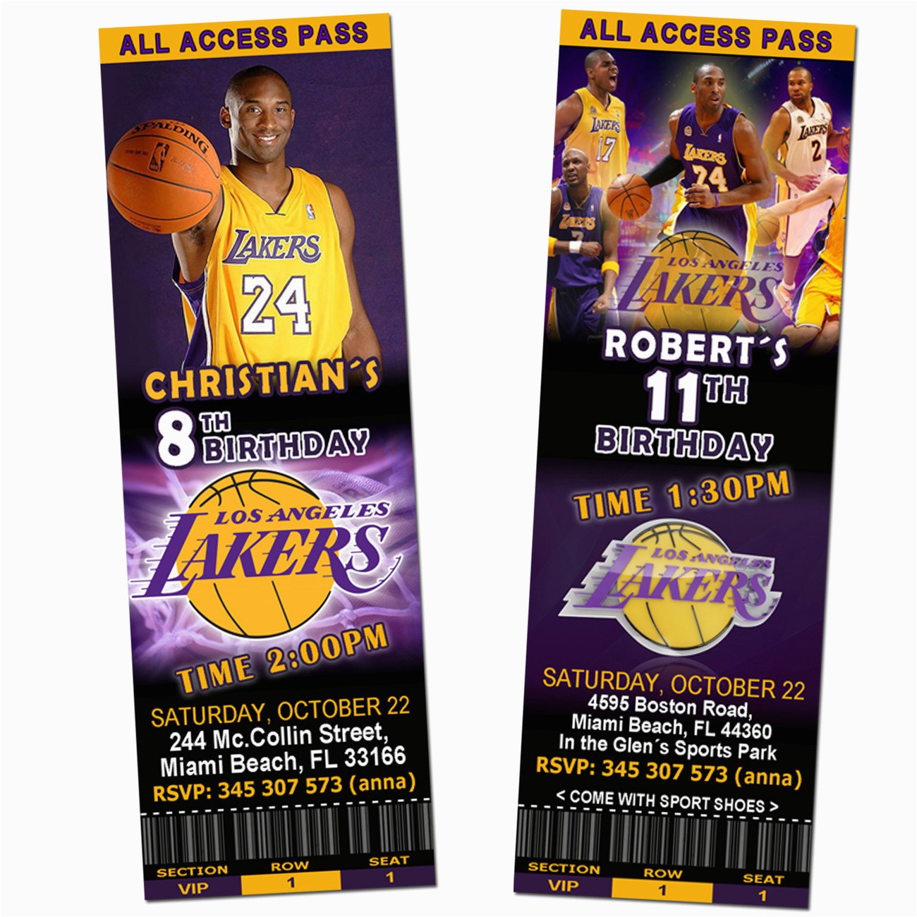 12 Los Angeles Lakers Birthday Ticket Invitations Invitations Los Angeles La Lakers Ticket Birthday Party Invitations