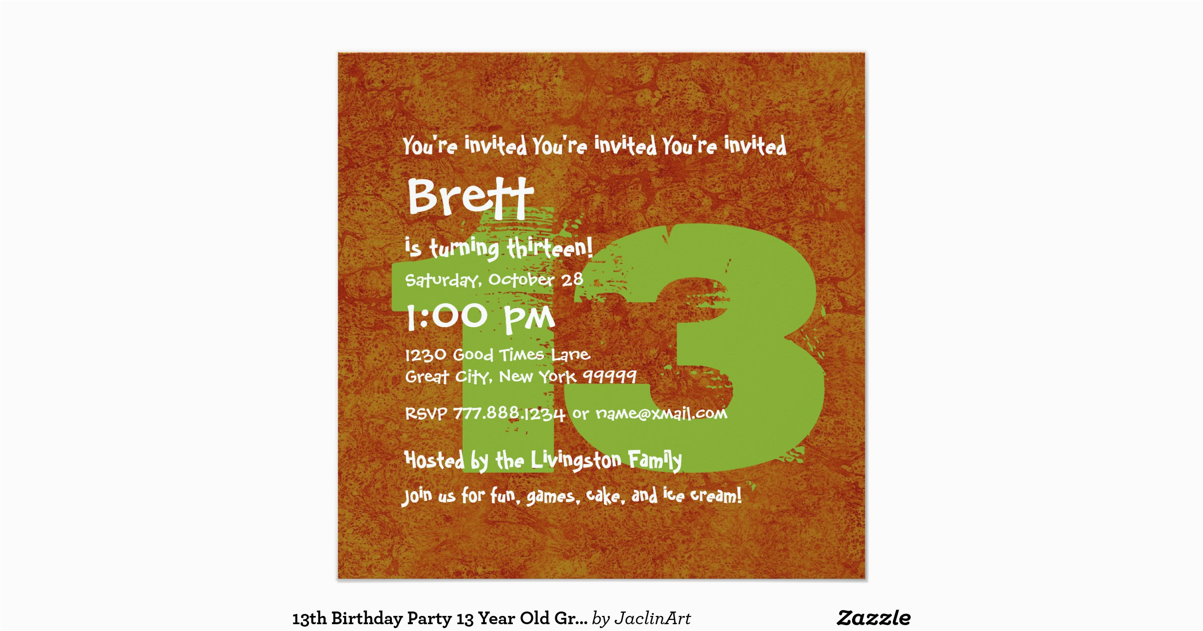 13 Year Old Birthday Party Invitations 13th Grunge Z13a 5 25