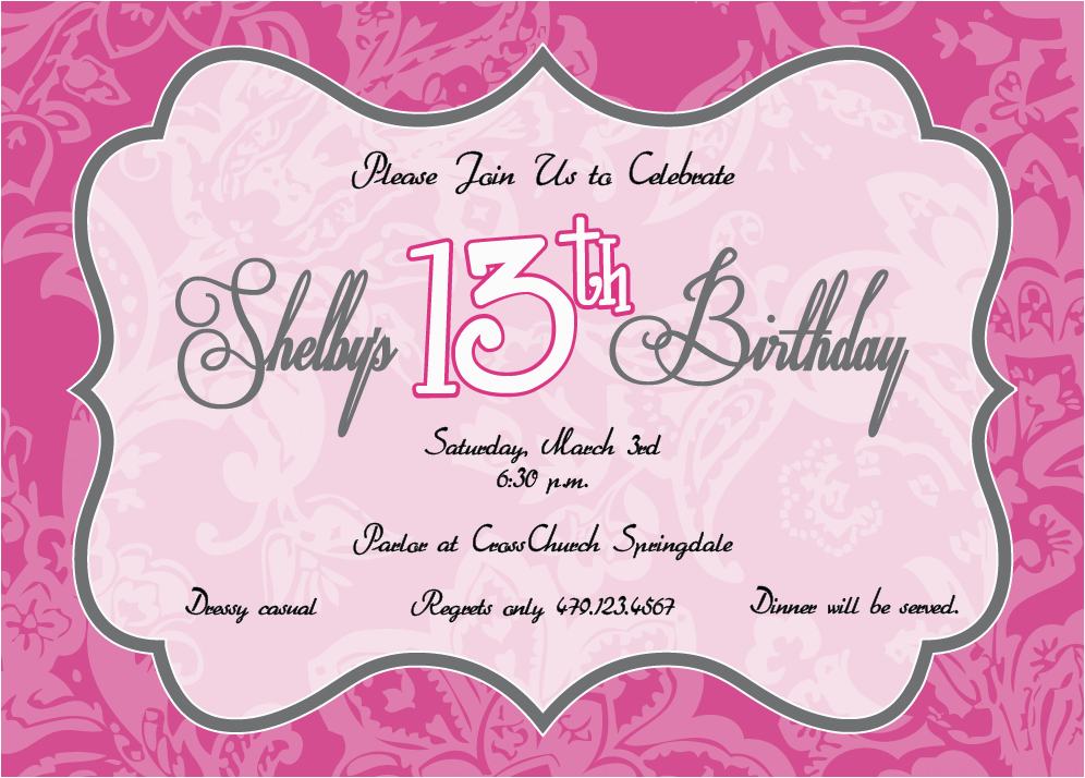 printable birthday party invitations for 13 year old