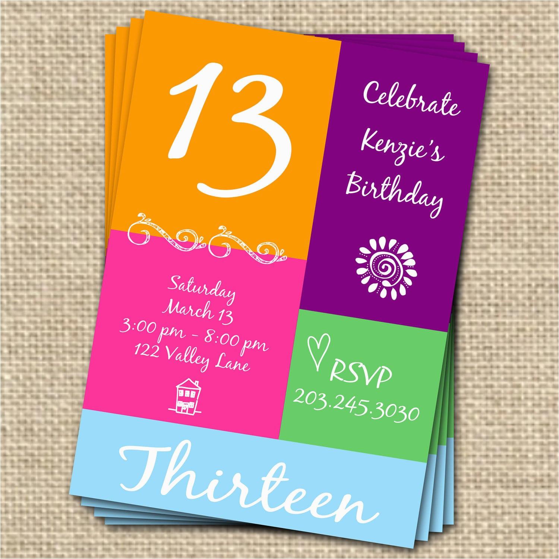13th Birthday Card Template Free 13th Birthday Invitation Template