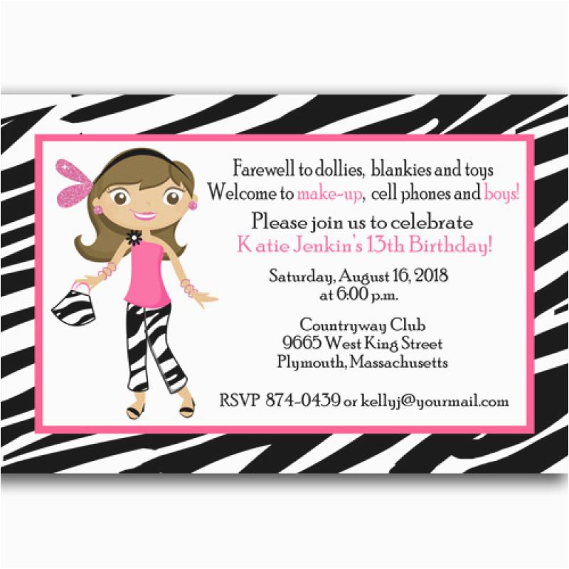 teenage girl 13 birthday printable invitation cards