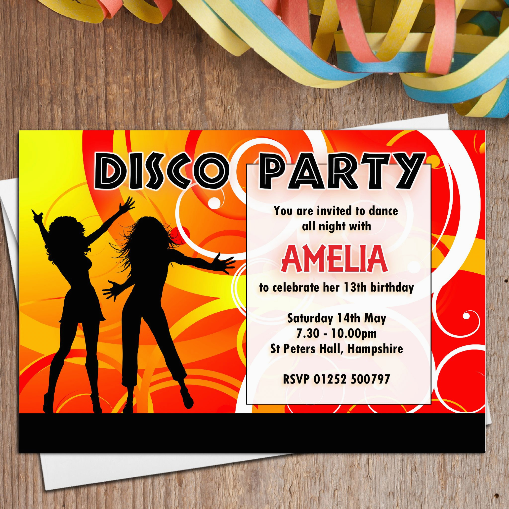 10 personalised disco dance birthday party invitations n1 269 p