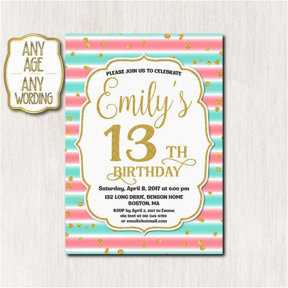 13th birthday invitation thirteenth