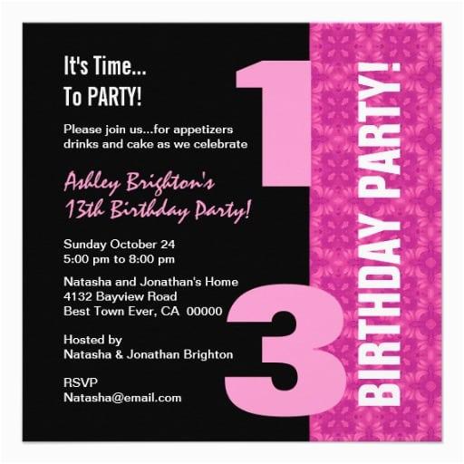 13th Birthday Invitation Wording Ideas 13th Birthday Invitation Template