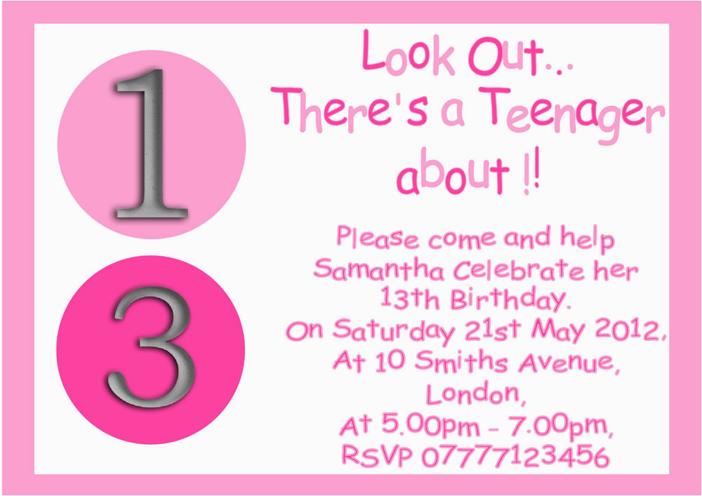 13th Birthday Invitation Wording Ideas Personalised Boys Girls Teenager 13th Birthday Party