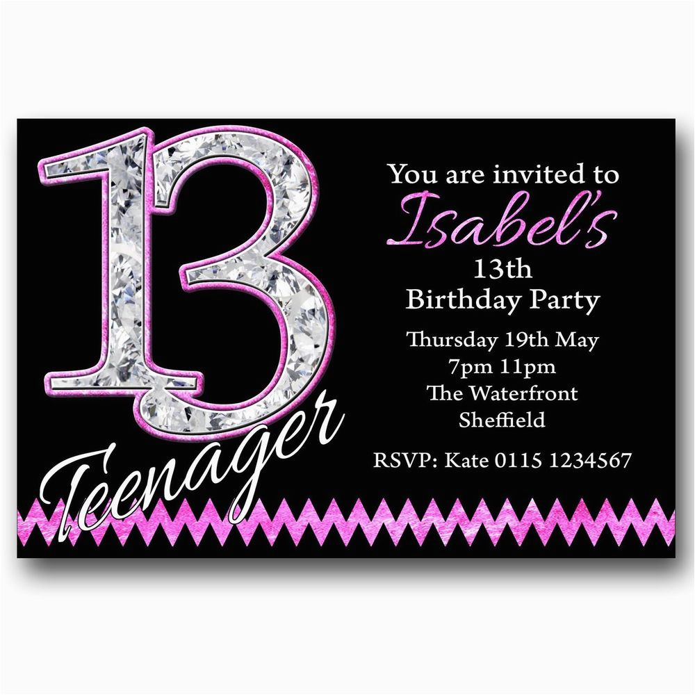 13th Birthday Invitation Wording Personalised Boys Girls Teenager Party