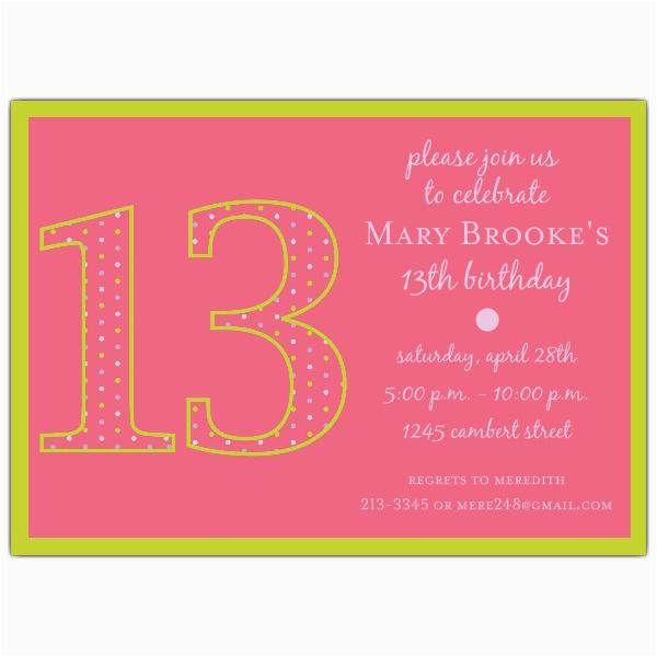 13th birthday girl dots invitations p 602 57 1102