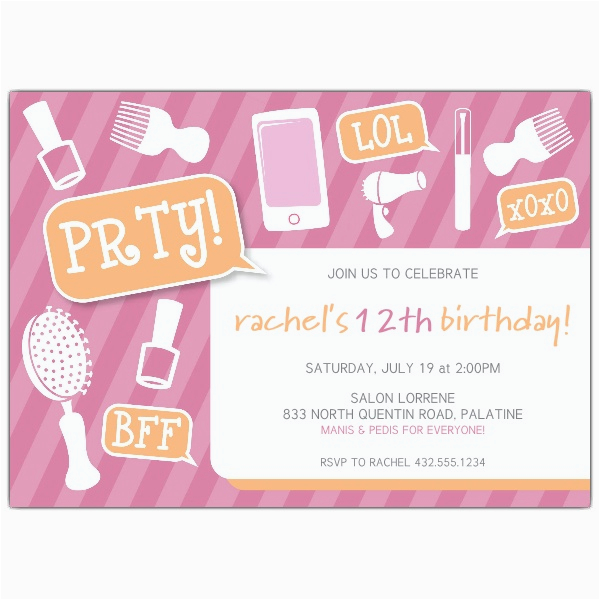 13th Birthday Invitation Wording Samples Girly Party Tween Invitations Paperstyle