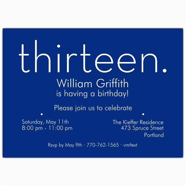 thirteen blue 13th birthday invitations p 610 75 285b