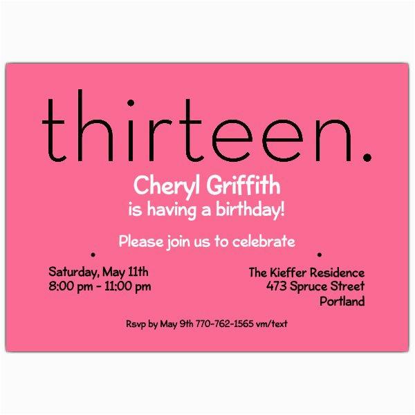 thirteen pink 13th birthday invitations p 610 75 285p