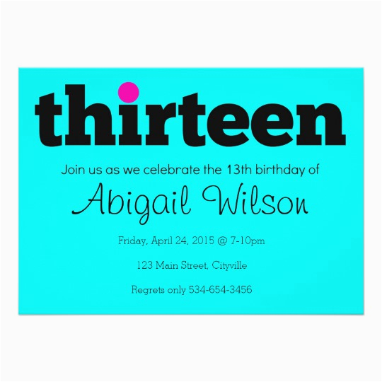 13th Birthday Invitation Wording Thirteen Party Zazzle Com