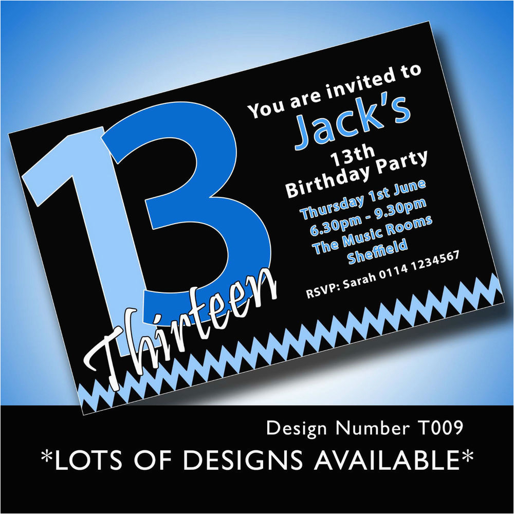 13th Birthday Invitations Boy Personalised Boys Girls Teenager 13th Birthday Party