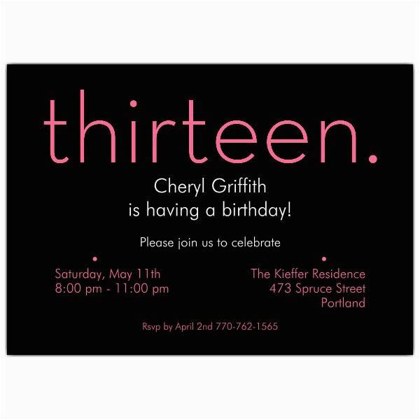 13th Birthday Invites Thirteen Pink On Black 13th Birthday Invitations Paperstyle