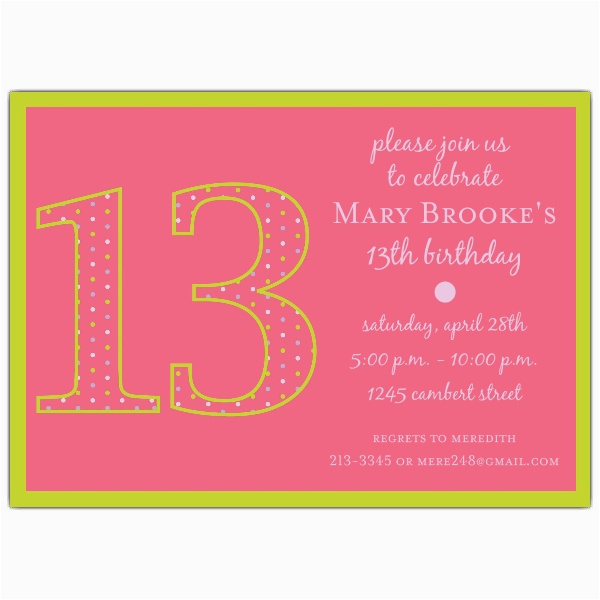 13th Birthday Party Invitation Wording Girl Dots Invitations Paperstyle