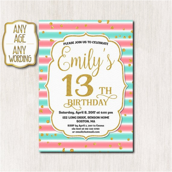 13th Birthday Party Invitation Wording Thirteenth Gold Glitter