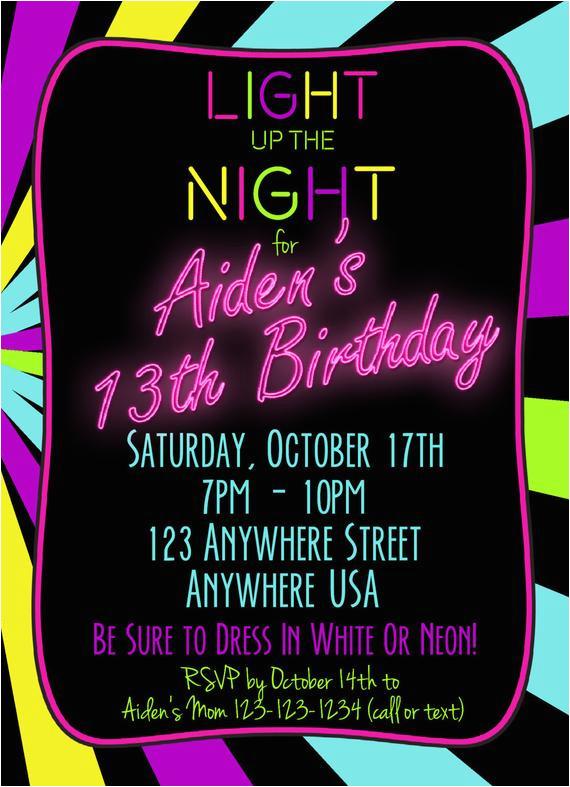 13th Birthday Party Invitations For Boys Neon 13th Birthday