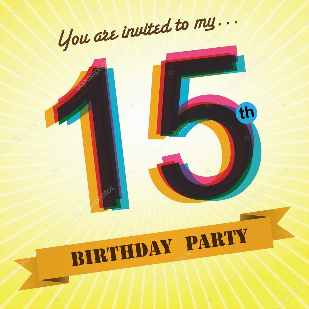 stock illustration 15th birthday party invite template