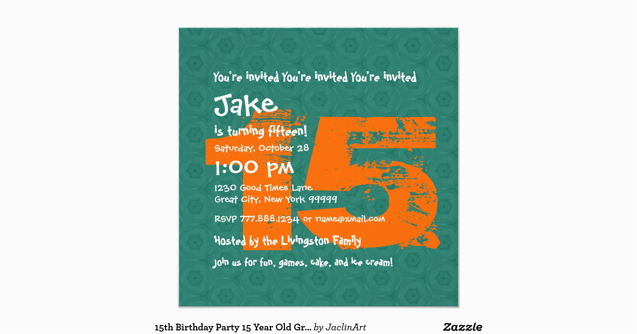 15 Year Old Birthday Invitations 15th Party Grunge Teal B15a