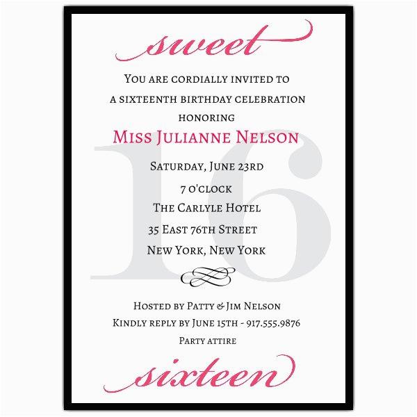 16 Birthday Invitation Wording Classic Pink Sweet 16 Birthday Invitations Paperstyle